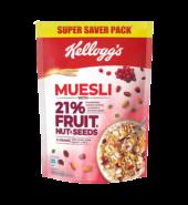 Kellogg's muesli with 21% fruit, nut and seeds.
